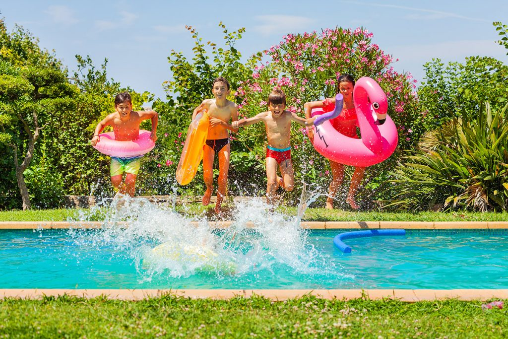 jumping floatie kids crazy silly fun backyard pool entertaining colourful