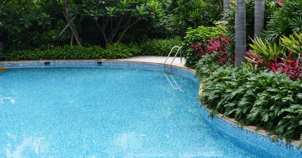 Make your pool energy efficient by putting in plantings to create a windbreak. This stops heat loss and elevates your backyard's landscaping.